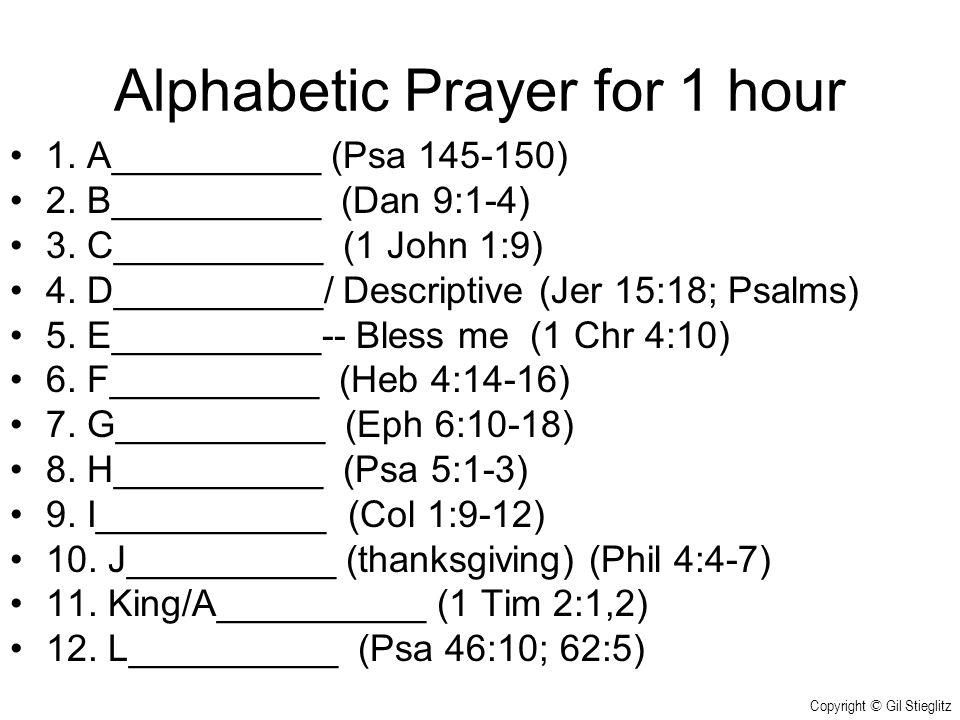 Alphabetic Prayer for 1 hour 1.A__________ (Psa 145-150) 2.