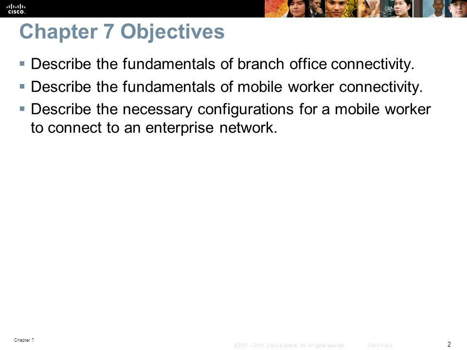 Chapter 7 3 © 2007 – 2010, Cisco Systems, Inc.All rights reserved.