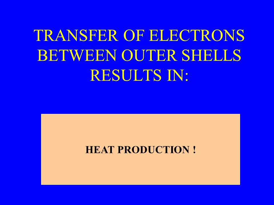 TRANSFER OF ELECTRONS BETWEEN OUTER SHELLS RESULTS IN: HEAT PRODUCTION !