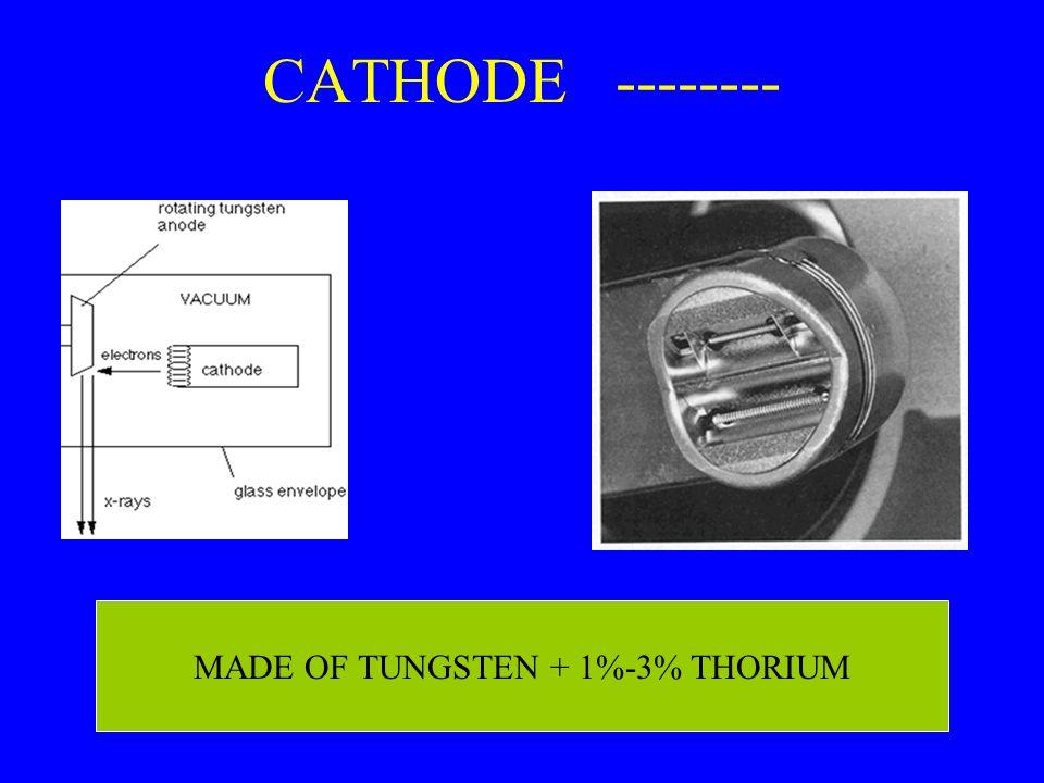 CATHODE -------- MADE OF TUNGSTEN + 1%-3% THORIUM
