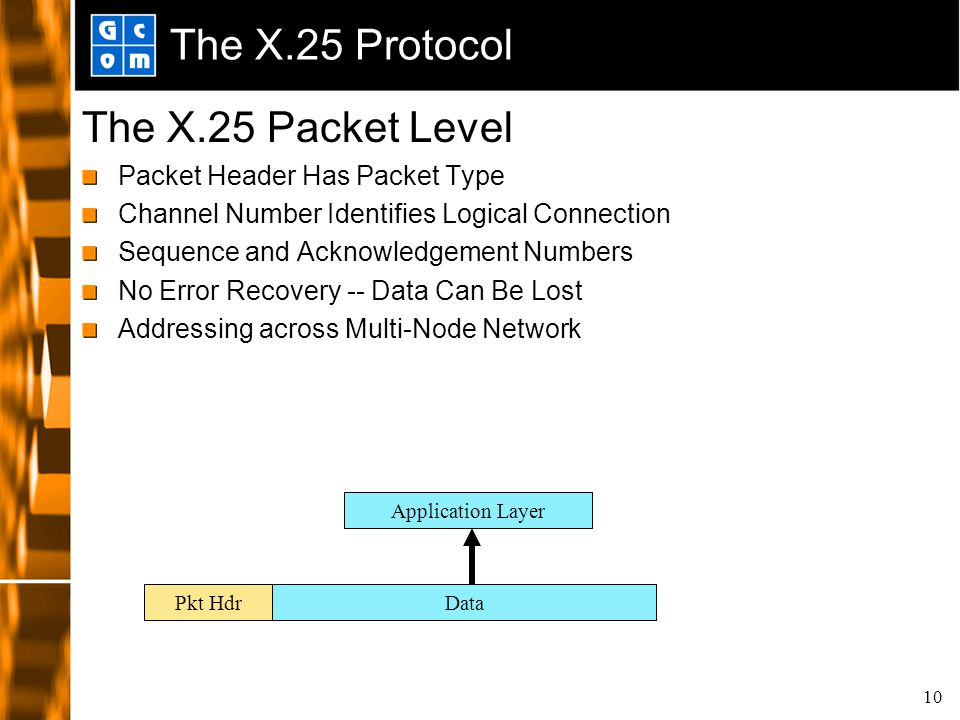 10 The X.25 Protocol The X.25 Packet Level Packet Header Has Packet Type Channel Number Identifies Logical Connection Sequence and Acknowledgement Num