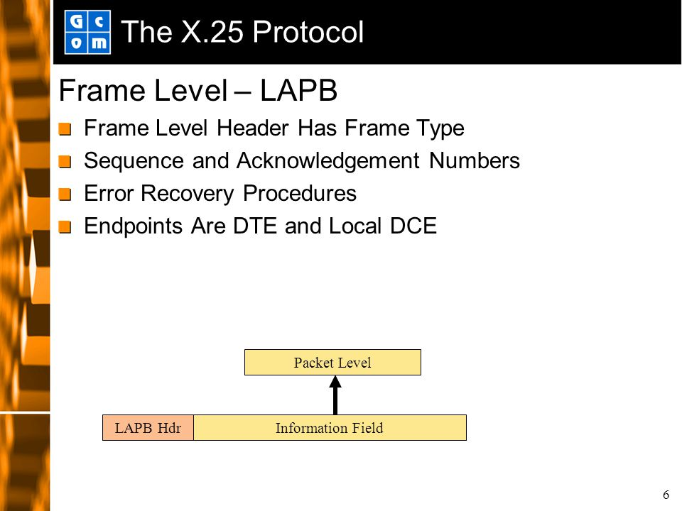 6 The X.25 Protocol Frame Level – LAPB Frame Level Header Has Frame Type Sequence and Acknowledgement Numbers Error Recovery Procedures Endpoints Are DTE and Local DCE LAPB HdrInformation Field Packet Level