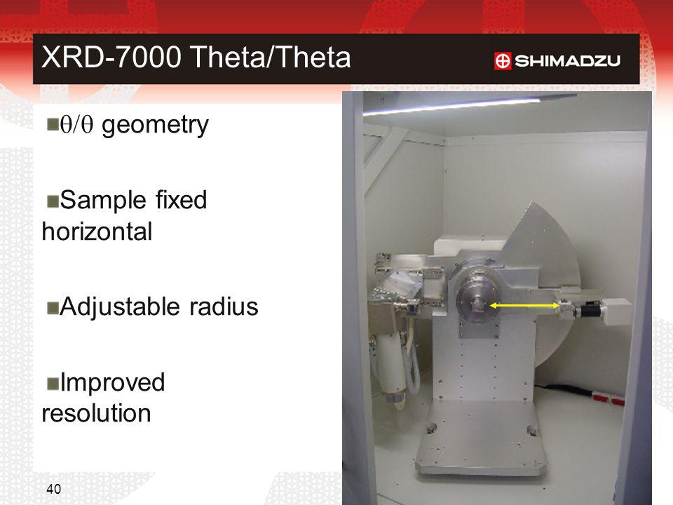 XRD-7000 Theta/Theta  geometry Sample fixed horizontal Adjustable radius Improved resolution © 2007 SHIMADZU 40