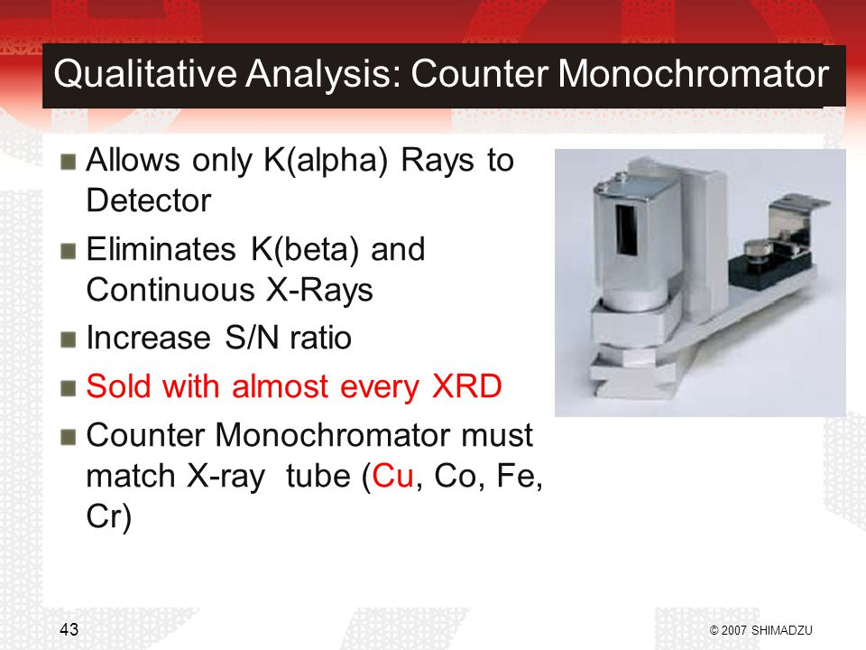 Qualitative Analysis: Counter Monochromator Allows only K(alpha) Rays to Detector Eliminates K(beta) and Continuous X-Rays Increase S/N ratio Sold wit