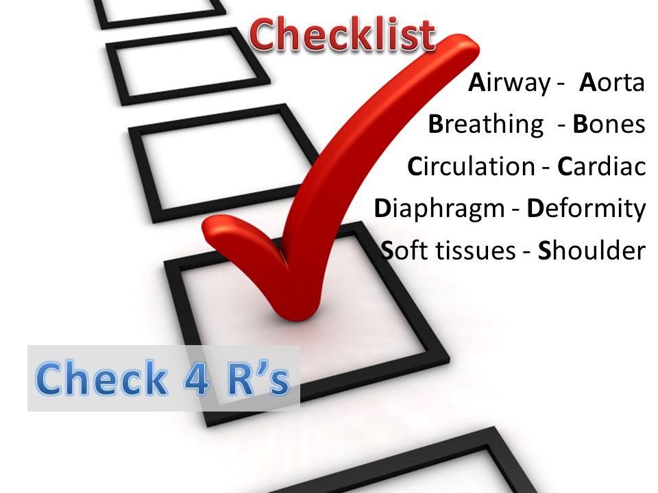 Airway - Aorta Breathing - Bones Circulation - Cardiac Diaphragm - Deformity Soft tissues - Shoulder