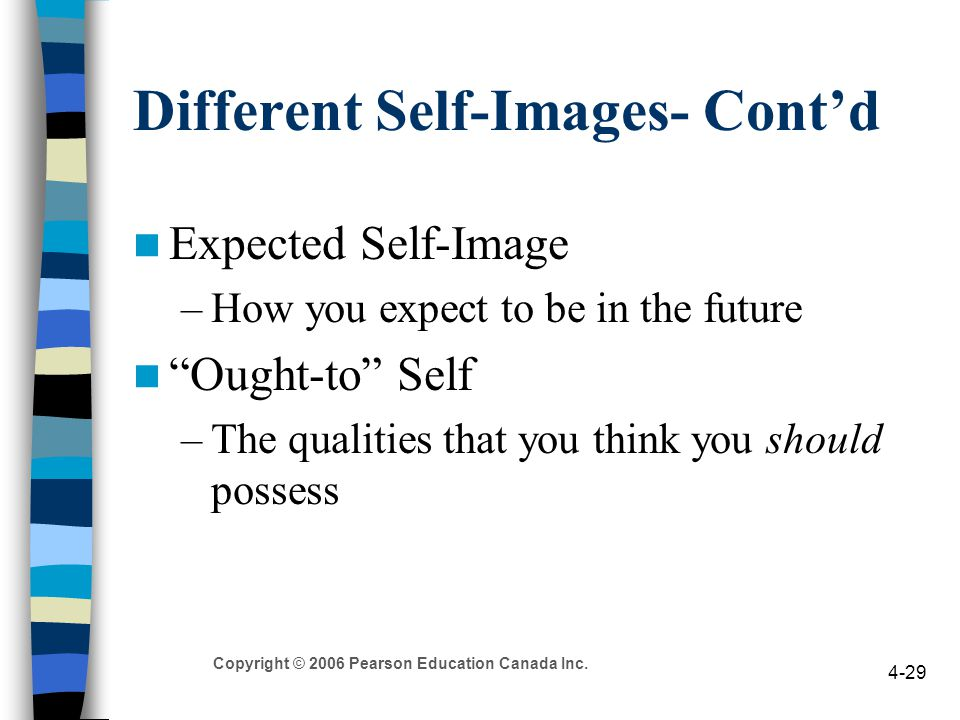 "Copyright © 2006 Pearson Education Canada Inc. 4-29 Different Self-Images- Cont'd Expected Self-Image –How you expect to be in the future ""Ought-to"" S"