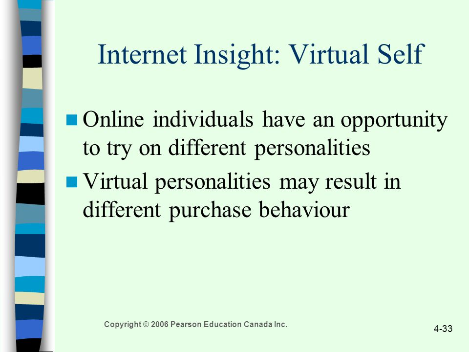 Copyright © 2006 Pearson Education Canada Inc. 4-33 Internet Insight: Virtual Self Online individuals have an opportunity to try on different personal