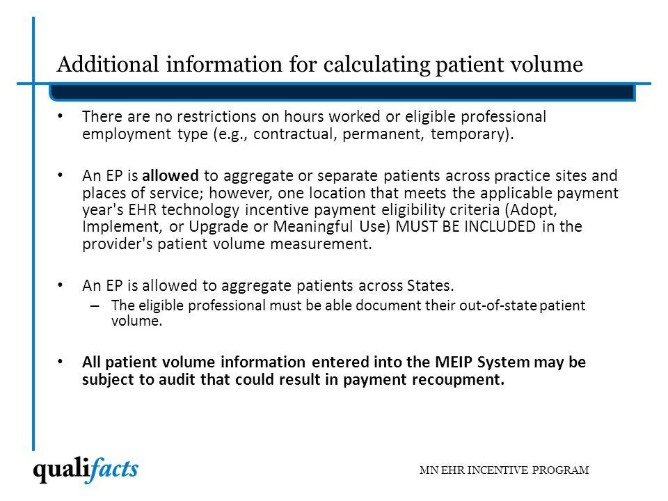 Calculating Patient Volume MN EHR INCENTIVE PROGRAM