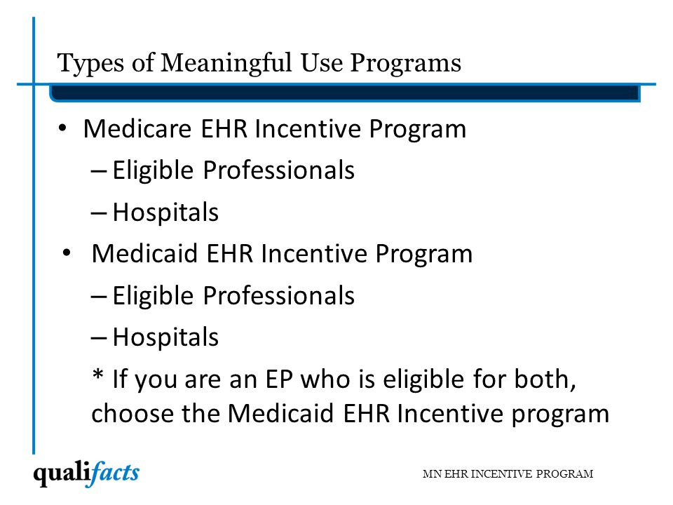 Overview of the Meaningful Use Programs The Meaningful Use Incentive Programs are part of the Health Information Technology for Economic and Clinical Health (HITECH) Act, which is under the American Recovery and Reinvestment Act (ARRA) The goals of using a certified EHR in a meaningful way are to – Reduce medical errors; – Improve health care outcomes; – Ensure quality; and – Reduce health care costs MN EHR INCENTIVE PROGRAM