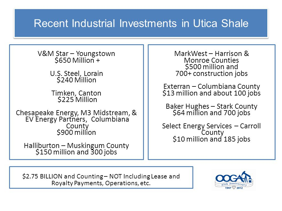 Recent Industrial Investments in Utica Shale V&M Star – Youngstown $650 Million + U.S.