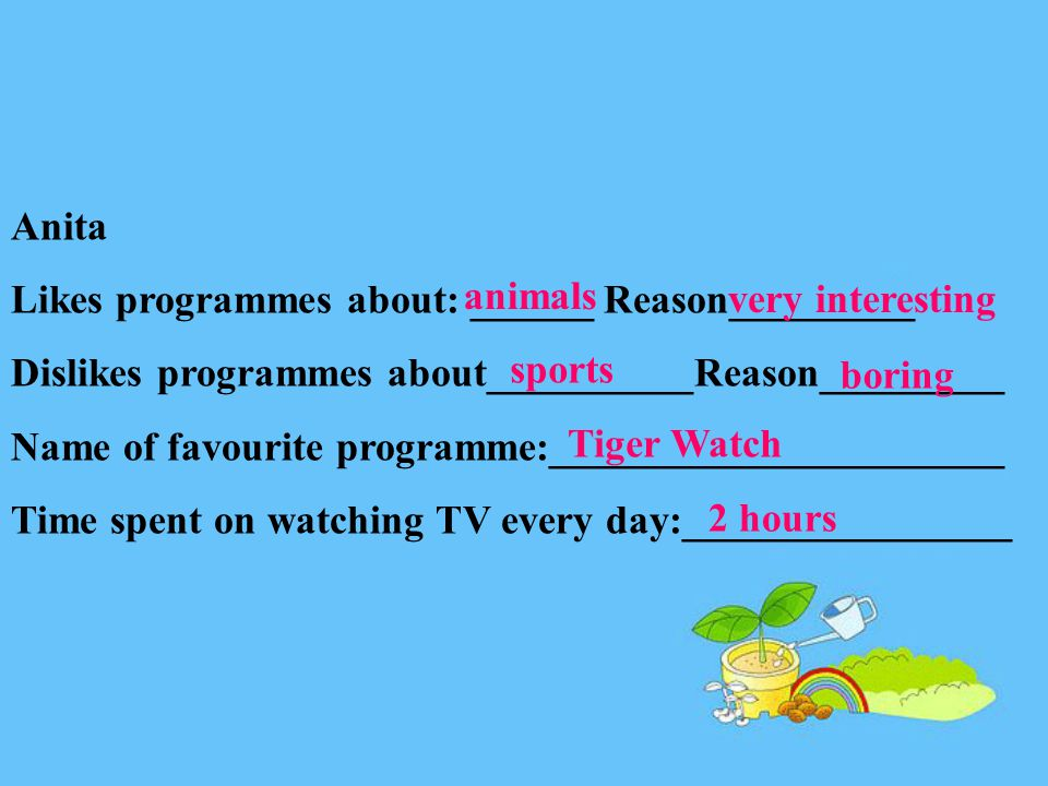 Anita Likes programmes about: ______ Reason_________ Dislikes programmes about__________Reason_________ Name of favourite programme:______________________ Time spent on watching TV every day:________________ animals very interesting sports boring Tiger Watch 2 hours