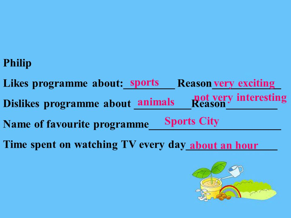 Philip Likes programme about:_________ Reason____________ Dislikes programme about __________Reason_________ Name of favourite programme_______________________ Time spent on watching TV every day________________ sports very exciting animals not very interesting Sports City about an hour