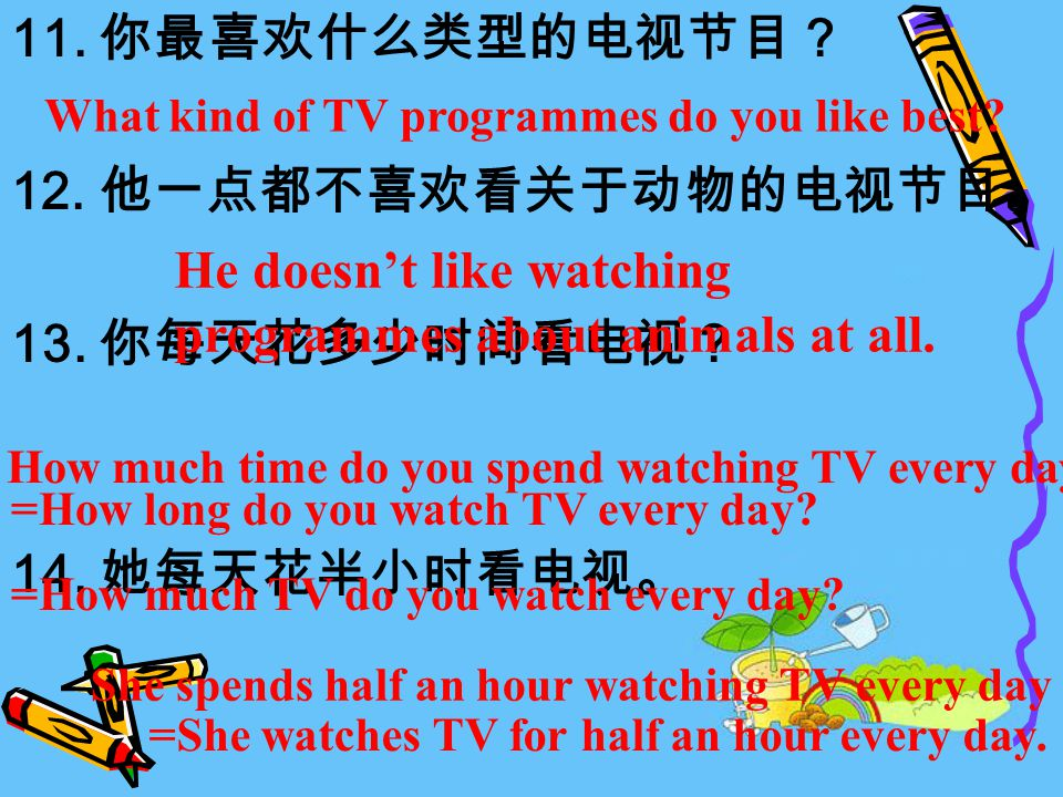 11. 你最喜欢什么类型的电视节目? 12. 他一点都不喜欢看关于动物的电视节目。 13. 你每天花多少时间看电视? 14.
