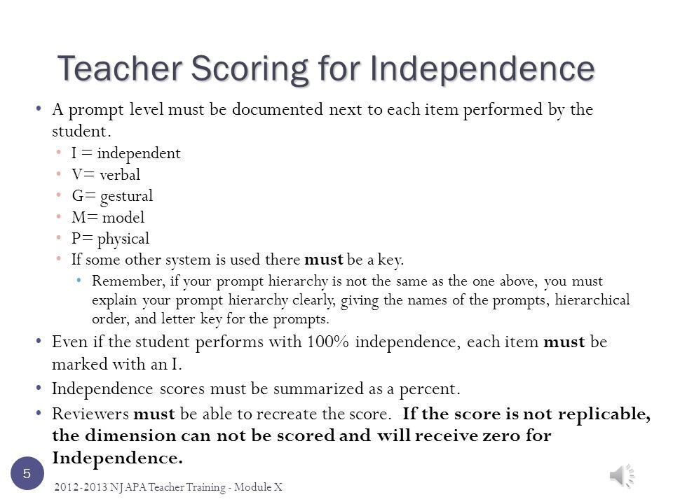 Scoring Independence – Quick Reference 15 2012-2013 NJ APA Teacher Training – Module X Independent
