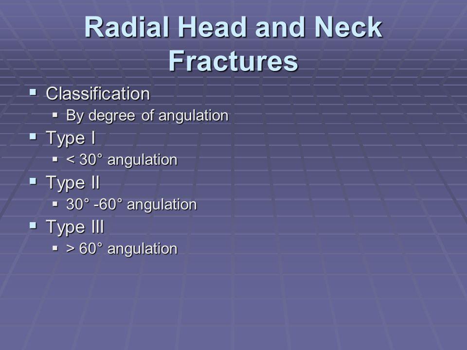 Radial Head and Neck Fractures  Classification  By degree of angulation  Type I  < 30° angulation  Type II  30° -60° angulation  Type III  > 6