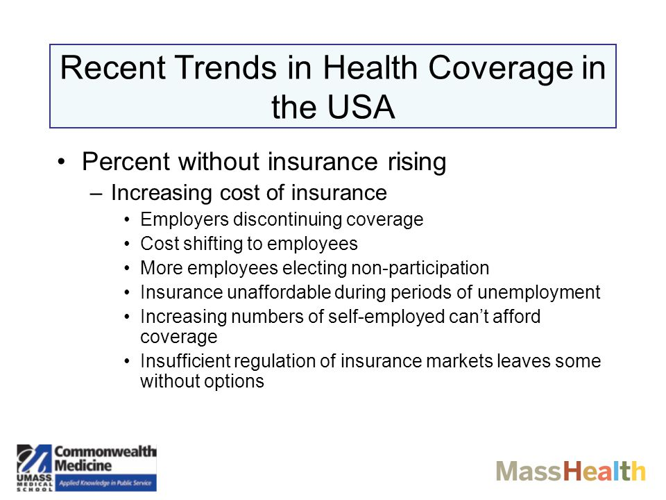 MASSACHUSETTS: The Picture in 2006 Population stable ~6 million Relatively affluent: median income 6th among US states Lowest uninsured rate in the USA: ~9% Population ethnically and socially diverse Health care is high in quality and high in cost Strong liberal tradition Health care is a very important industry in the state –Hospitals –Medical Schools –Biotechnology Companies –Pharmaceutical Companies –Medical Device Manufacturers Most private health insurers are local, non-profit, and nationally recognized