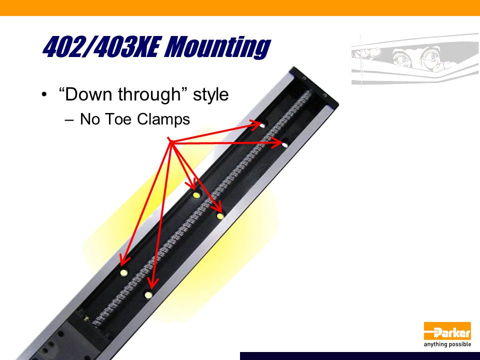 402/403XE Mounting Down through style –No Toe Clamps