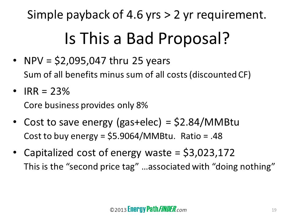 Is This a Bad Proposal. Simple payback of 4.6 yrs > 2 yr requirement.