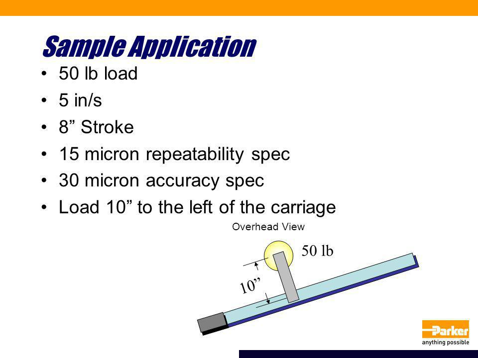 Sample Application 50 lb load 5 in/s 8 Stroke 15 micron repeatability spec 30 micron accuracy spec Load 10 to the left of the carriage Overhead View 10 50 lb