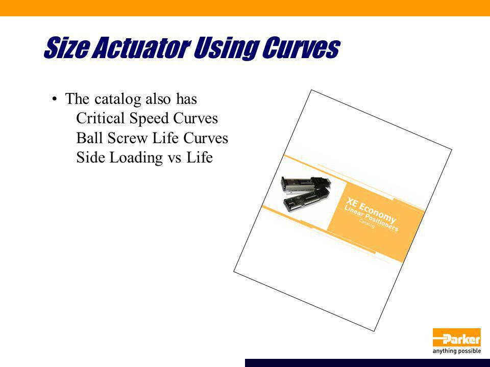 Size Actuator Using Curves The catalog also has Critical Speed Curves Ball Screw Life Curves Side Loading vs Life