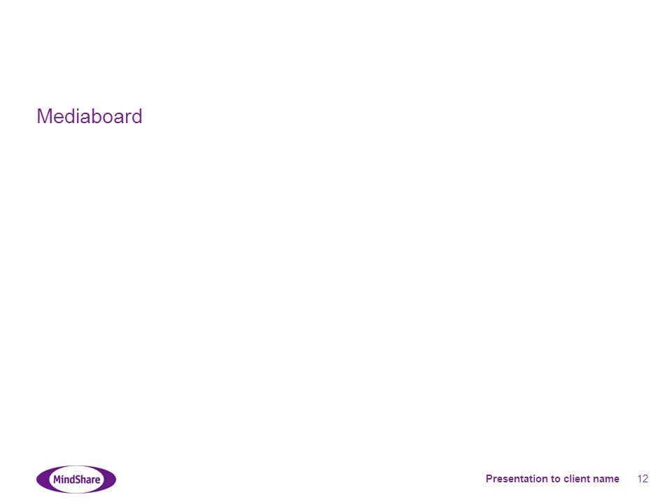 Presentation to client name 12 Mediaboard