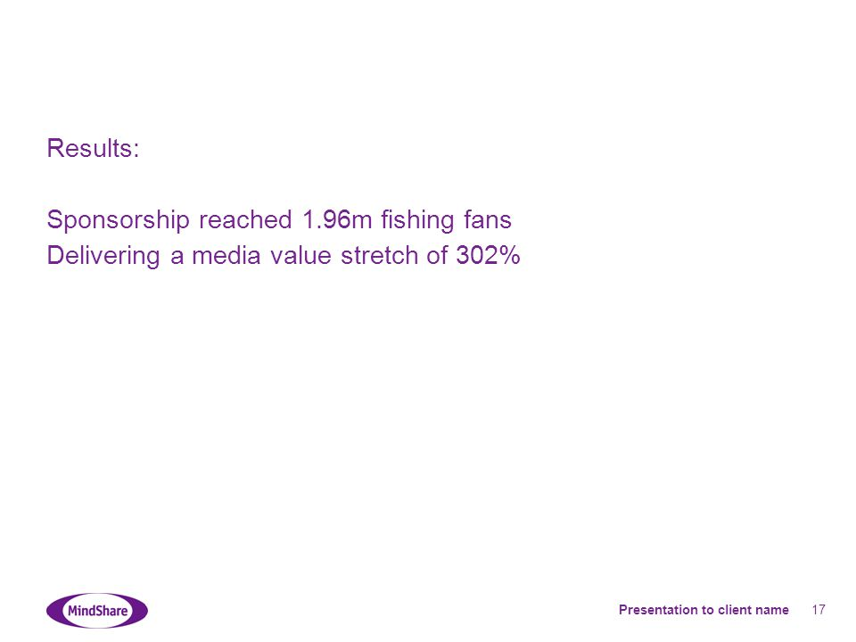 Presentation to client name 17 Results: Sponsorship reached 1.96m fishing fans Delivering a media value stretch of 302%