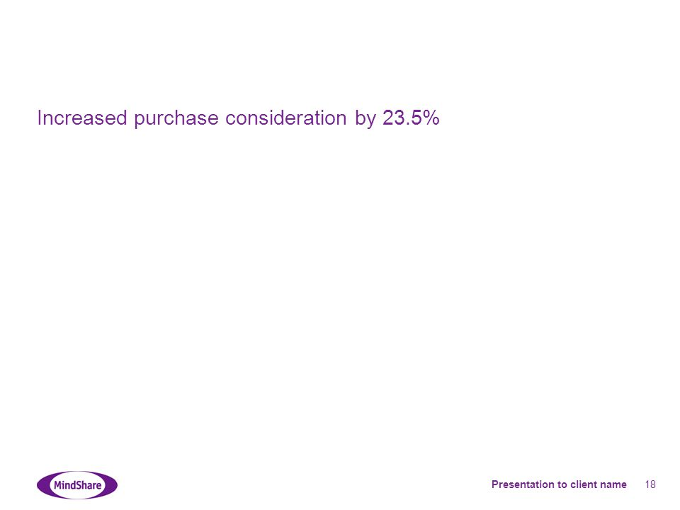 Presentation to client name 18 Increased purchase consideration by 23.5%