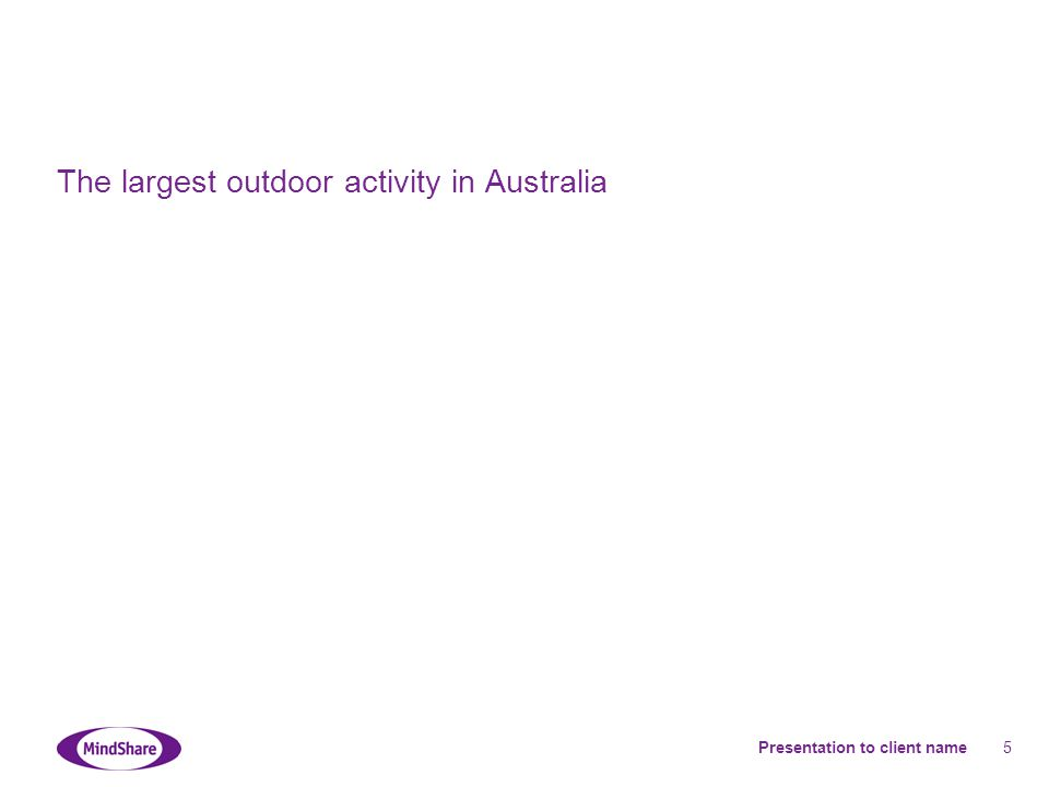Presentation to client name 5 The largest outdoor activity in Australia