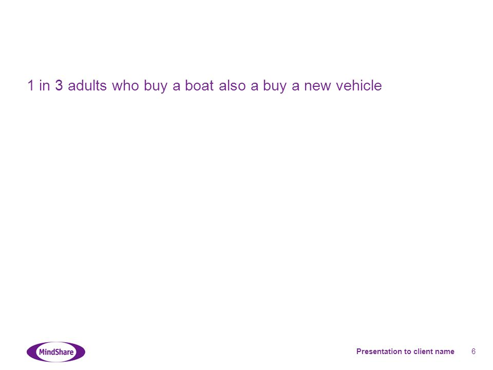 Presentation to client name 6 1 in 3 adults who buy a boat also a buy a new vehicle