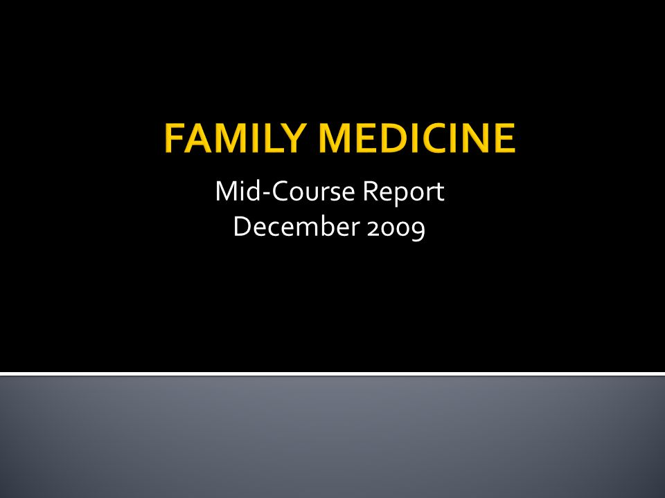 Mid-Course Report December 2009