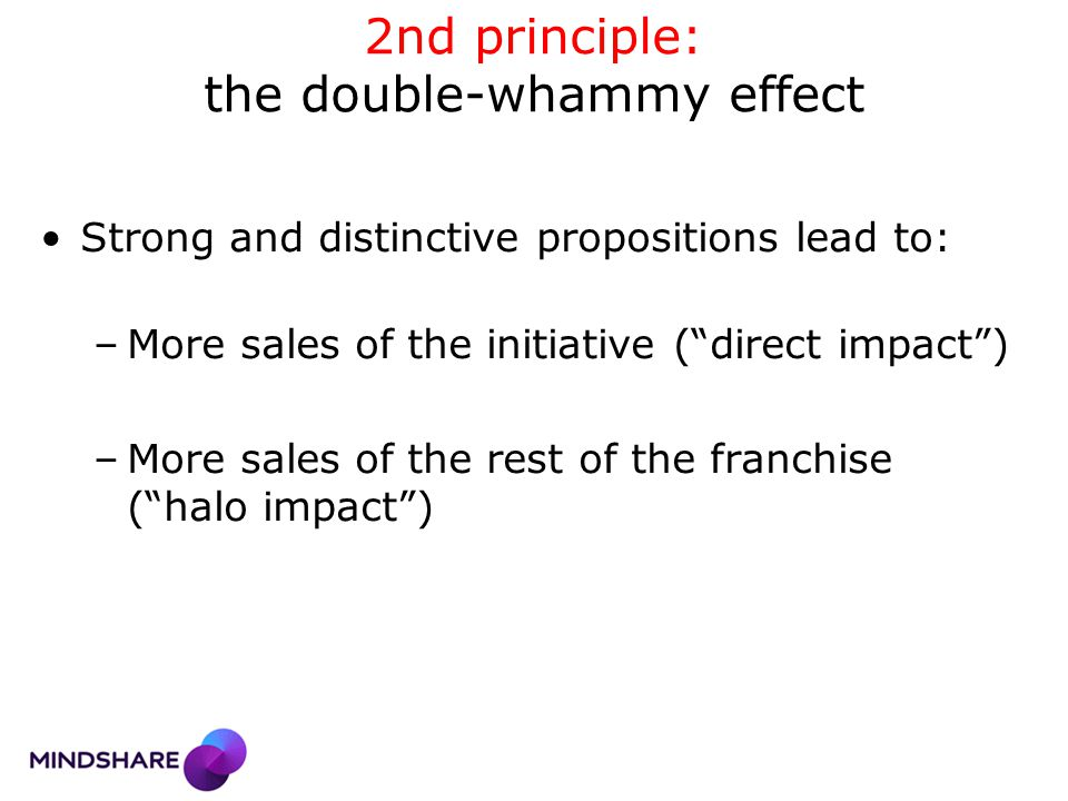 2nd principle: the double-whammy effect Strong and distinctive propositions lead to: –More sales of the initiative ( direct impact ) –More sales of the rest of the franchise ( halo impact )