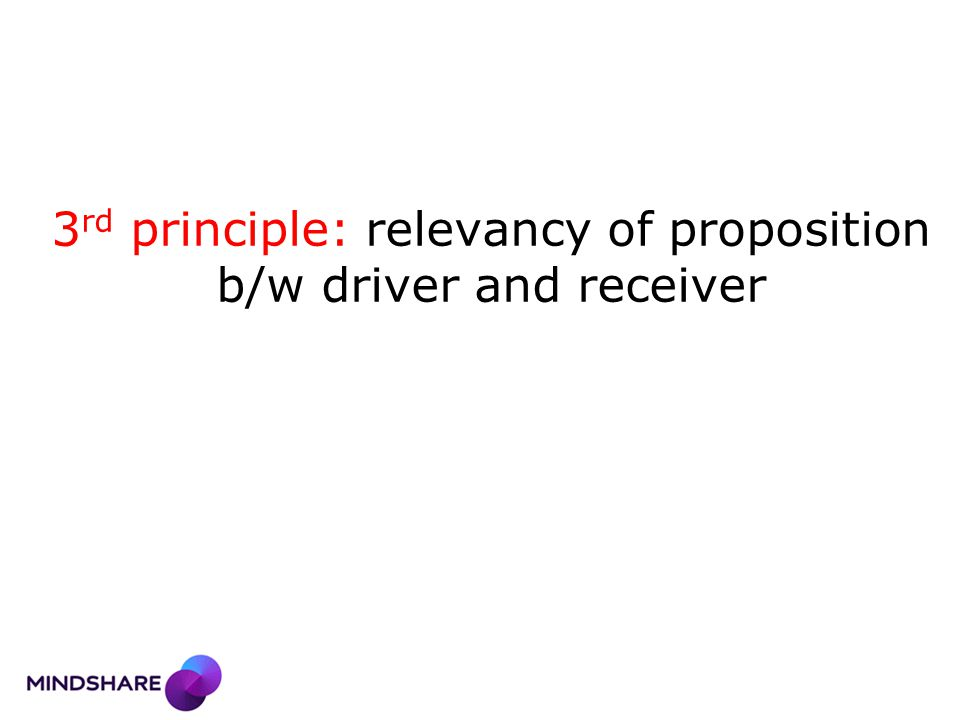 3 rd principle: relevancy of proposition b/w driver and receiver