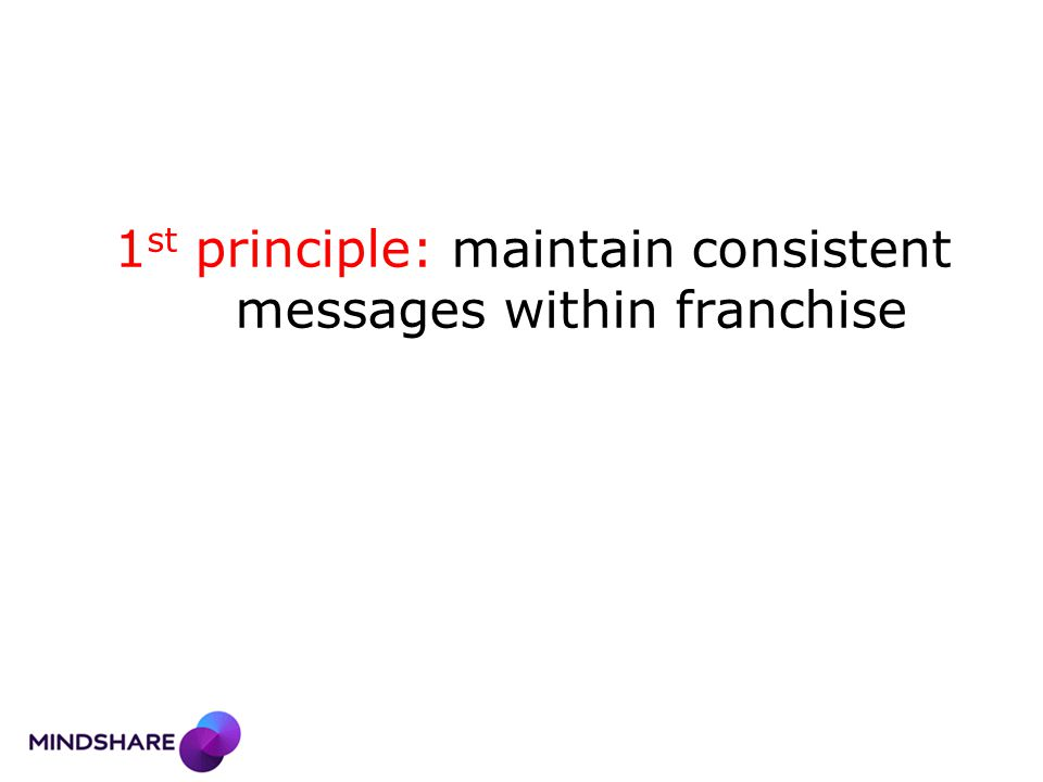1 st principle: maintain consistent messages within franchise