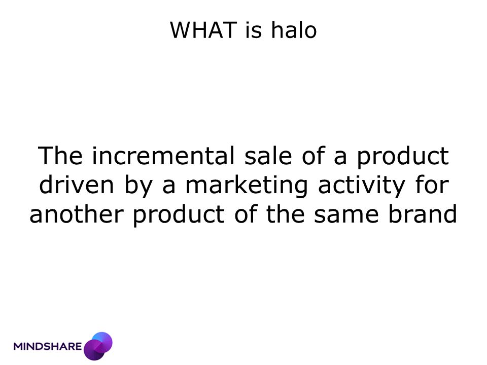 2 nd principle: halo impact mechanism Strong proposition means more traffic to the shelf = more awareness for the other lines Catch them in-store with other product comms
