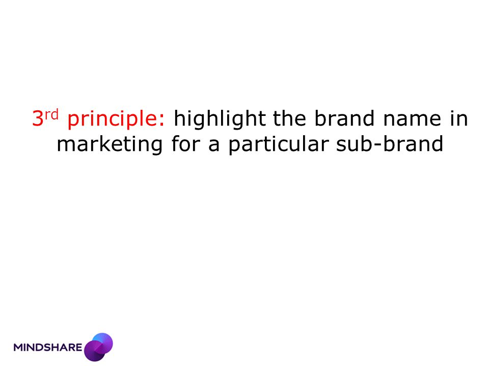 3 rd principle: highlight the brand name in marketing for a particular sub-brand