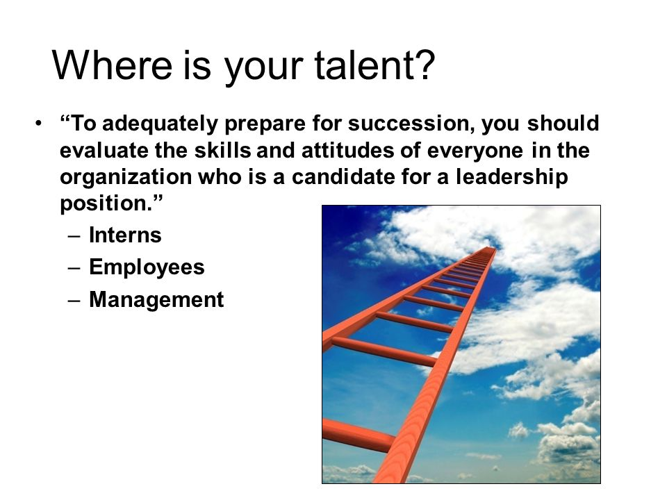 "Where is your talent? ""To adequately prepare for succession, you should evaluate the skills and attitudes of everyone in the organization who is a can"