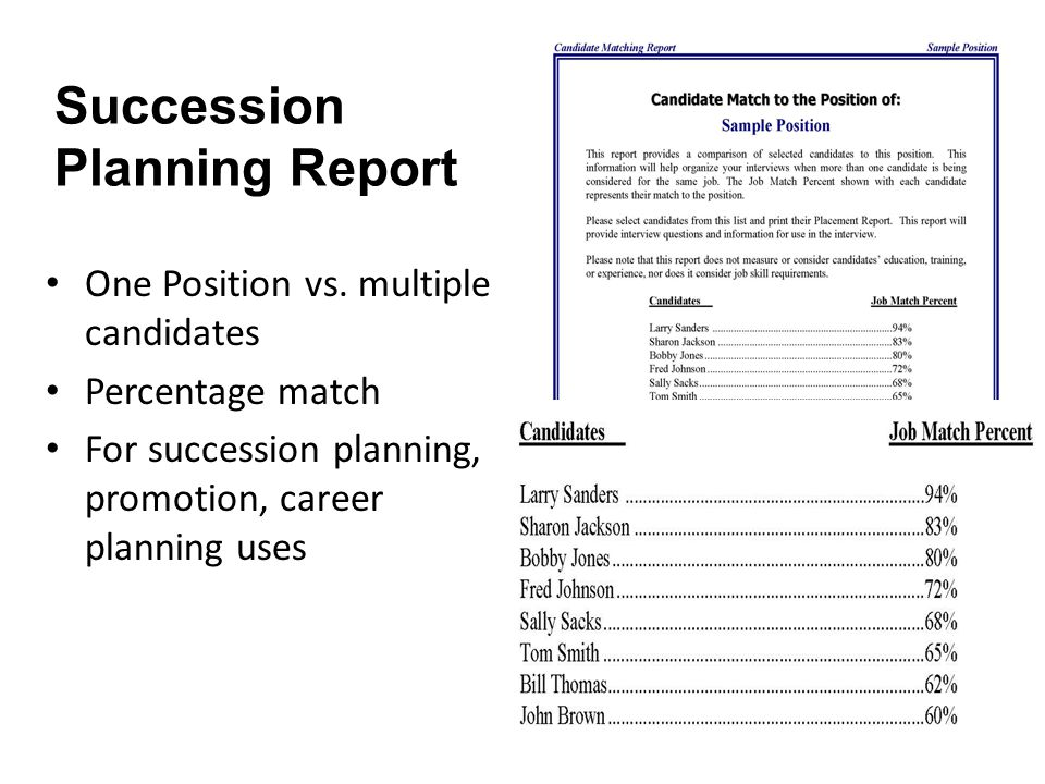 Succession Planning Report One Position vs.