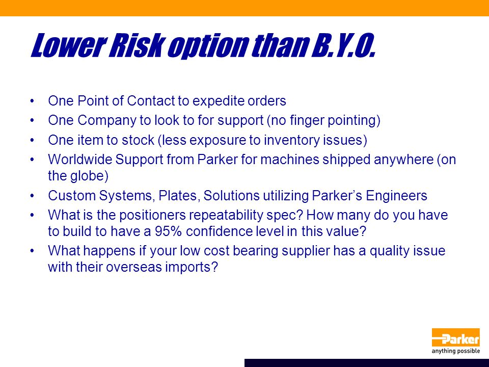 Lower Risk option than B.Y.O.