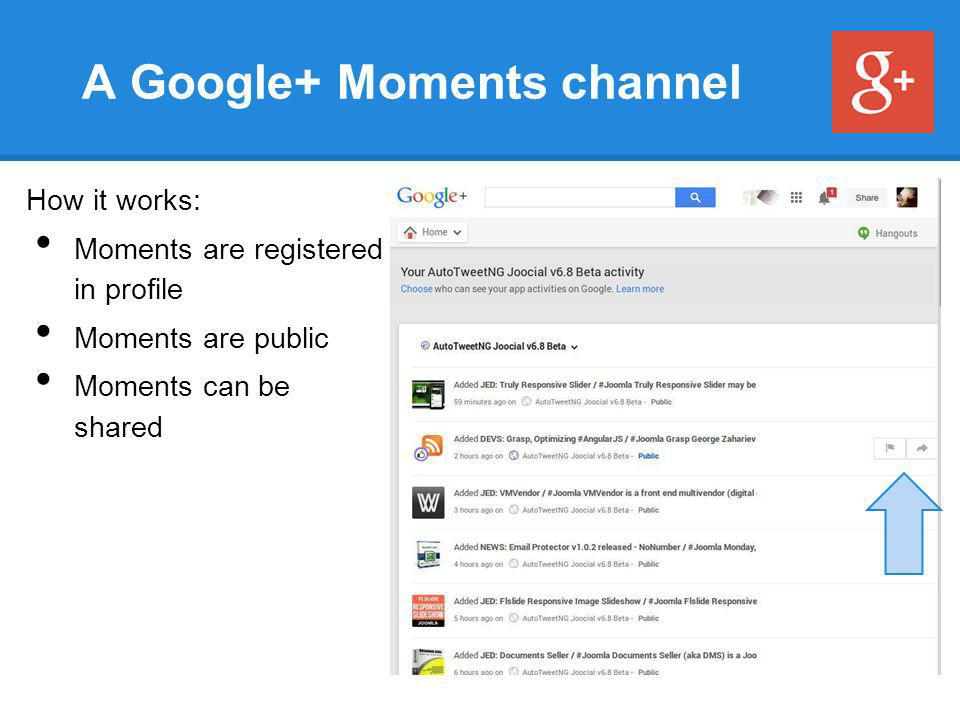 A Google+ Moments channel How it works: Moments are registered in profile Moments are public Moments can be shared