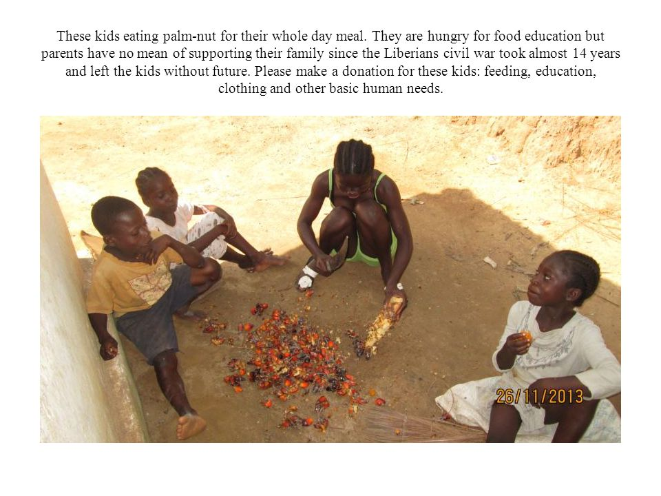 These kids eating palm-nut for their whole day meal.