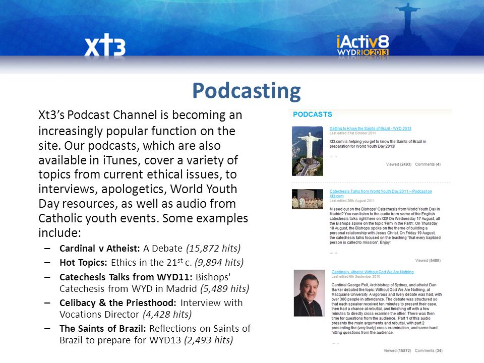 Podcasting Xt3's Podcast Channel is becoming an increasingly popular function on the site.