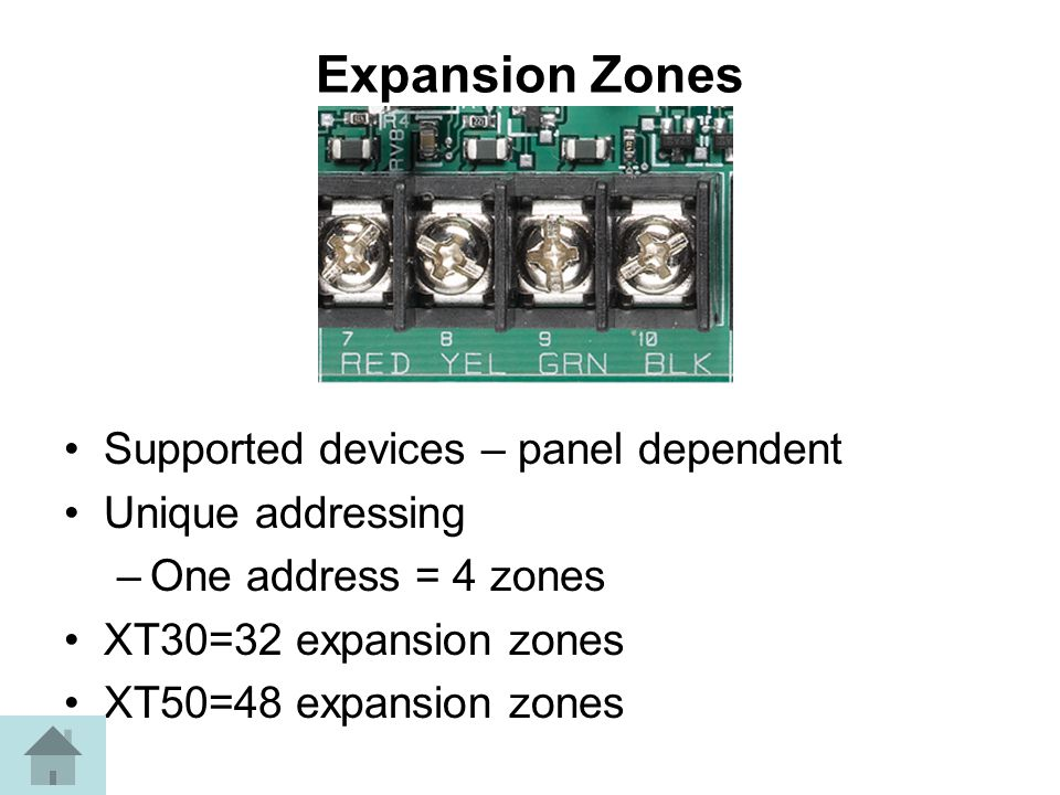 Expansion Zones Supported devices – panel dependent Unique addressing –One address = 4 zones XT30=32 expansion zones XT50=48 expansion zones