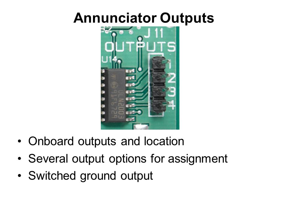Annunciator Outputs Onboard outputs and location Several output options for assignment Switched ground output
