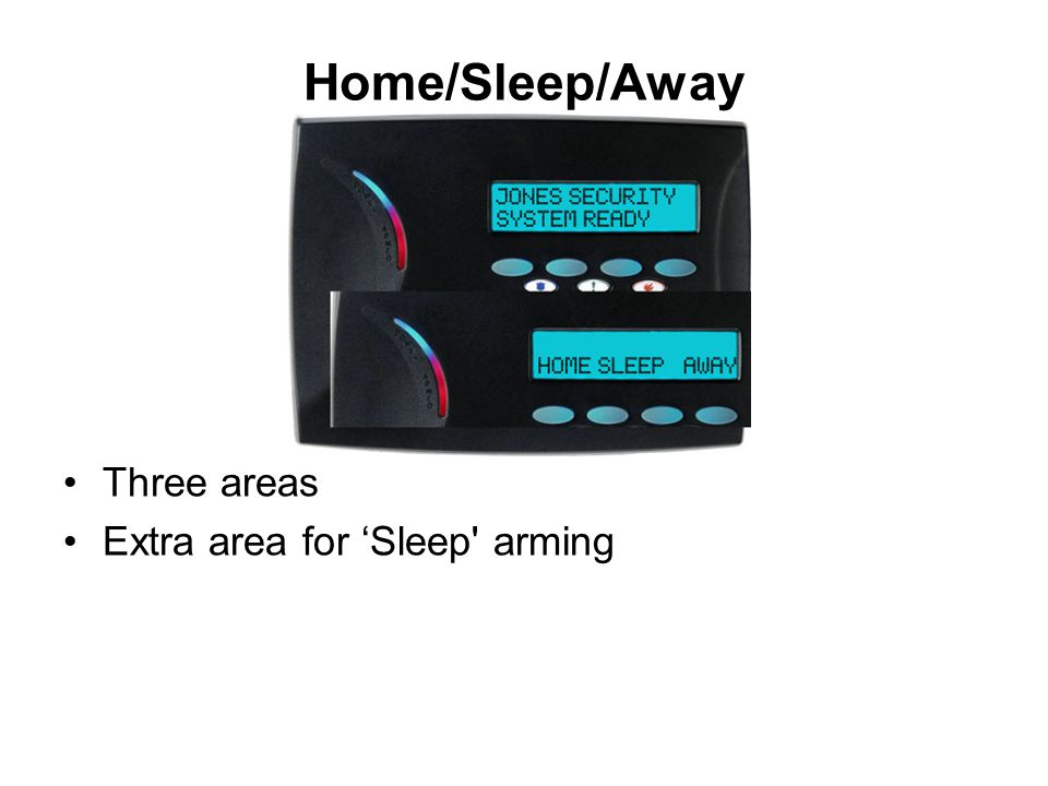 Home/Sleep/Away Three areas Extra area for 'Sleep' arming