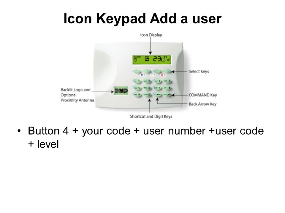 Icon Keypad Add a user Button 4 + your code + user number +user code + level