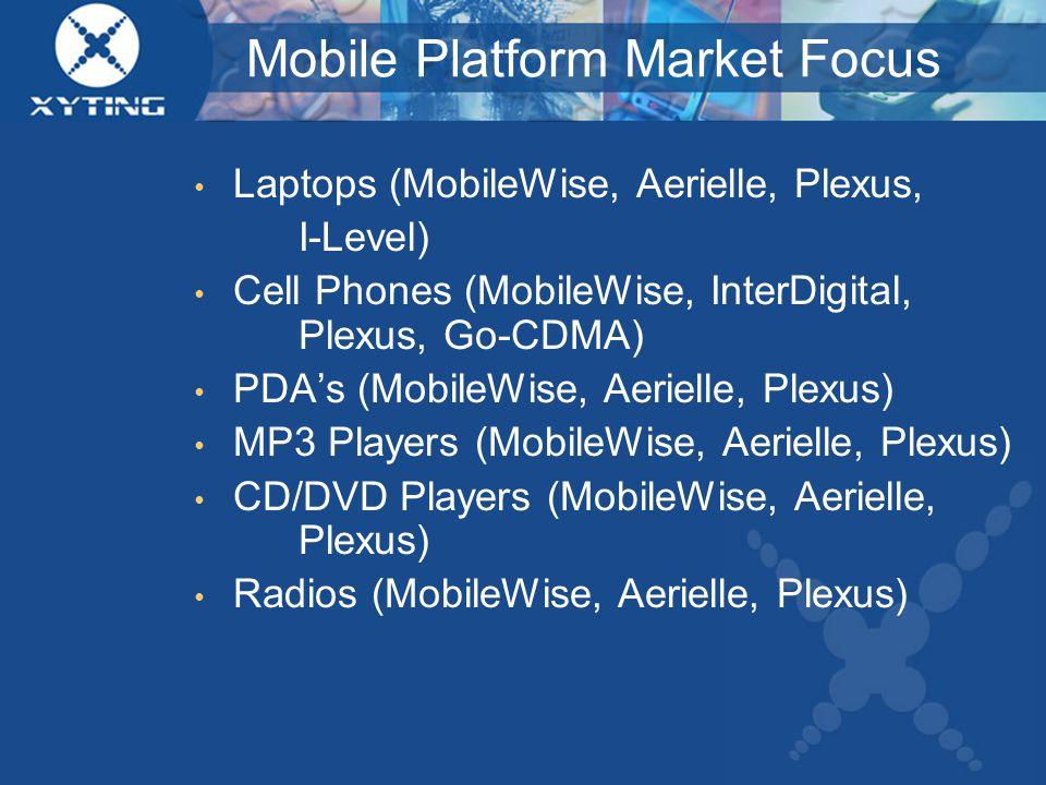 Mobile Platform Market Focus Laptops (MobileWise, Aerielle, Plexus, I-Level) Cell Phones (MobileWise, InterDigital, Plexus, Go-CDMA) PDA's (MobileWise, Aerielle, Plexus) MP3 Players (MobileWise, Aerielle, Plexus) CD/DVD Players (MobileWise, Aerielle, Plexus) Radios (MobileWise, Aerielle, Plexus)
