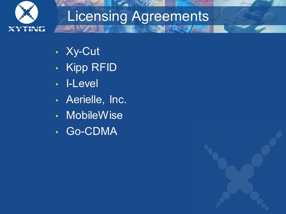 Licensing Agreements Xy-Cut Kipp RFID I-Level Aerielle, Inc. MobileWise Go-CDMA