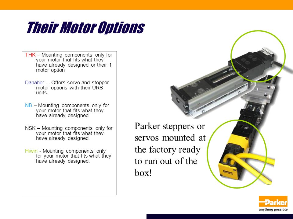 Their Motor Options THK – Mounting components only for your motor that fits what they have already designed or their 1 motor option Danaher – Offers s