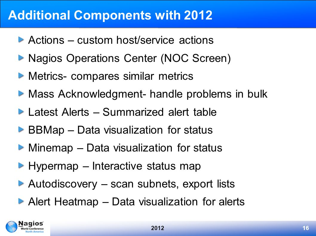 201216 Additional Components with 2012 Actions – custom host/service actions Nagios Operations Center (NOC Screen) Metrics- compares similar metrics Mass Acknowledgment- handle problems in bulk Latest Alerts – Summarized alert table BBMap – Data visualization for status Minemap – Data visualization for status Hypermap – Interactive status map Autodiscovery – scan subnets, export lists Alert Heatmap – Data visualization for alerts