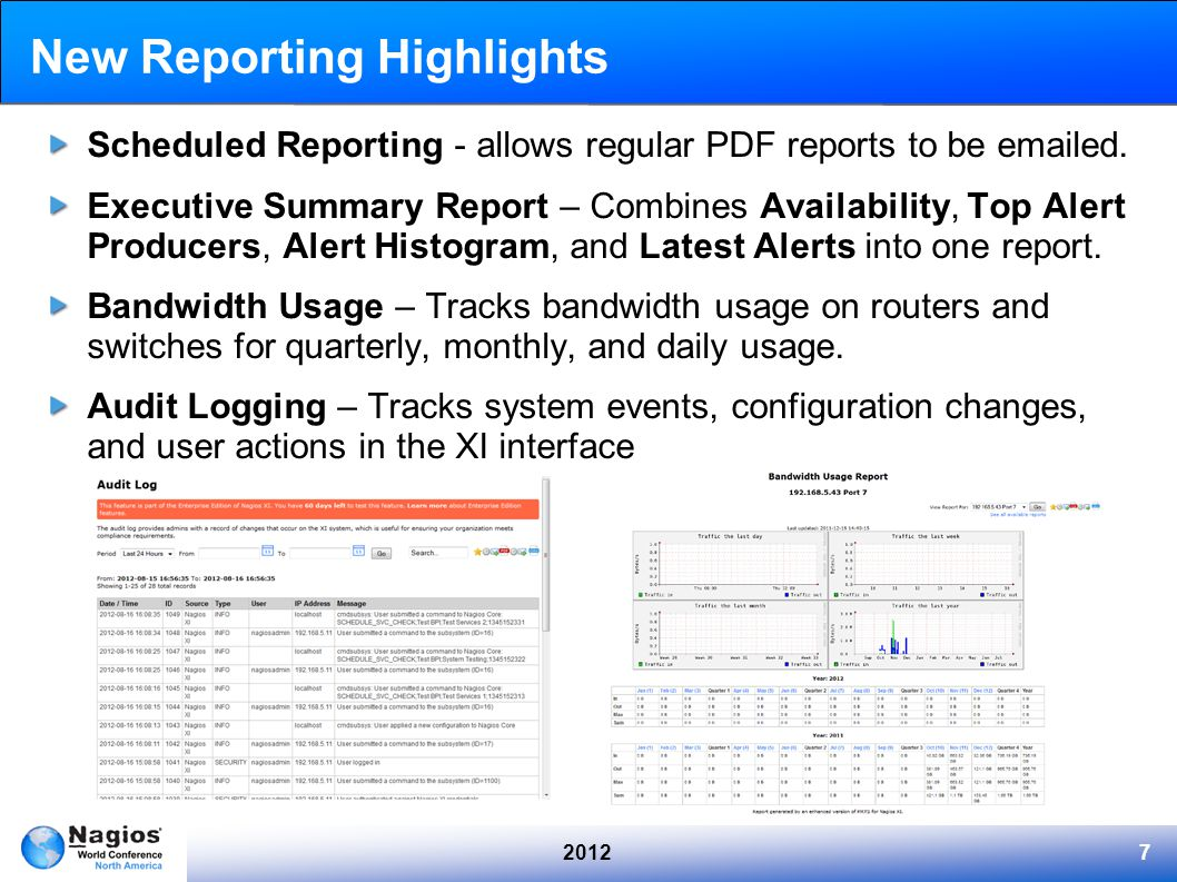 20127 New Reporting Highlights Scheduled Reporting - allows regular PDF reports to be emailed. Executive Summary Report – Combines Availability, Top A